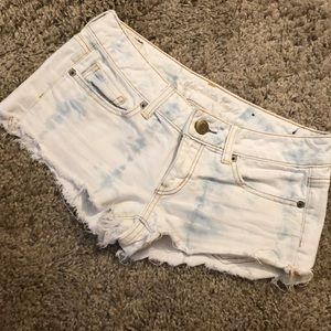 American Eagle White/Blue Tye Dye Shorts